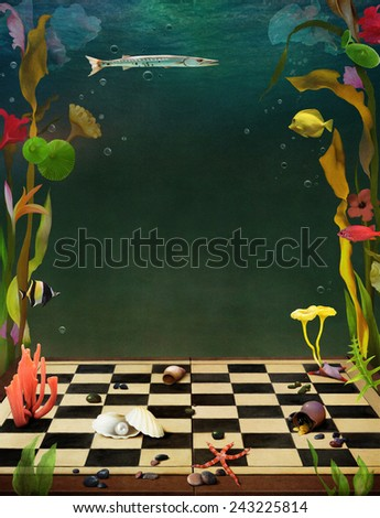 Bright background with flowers and sea animals underwater