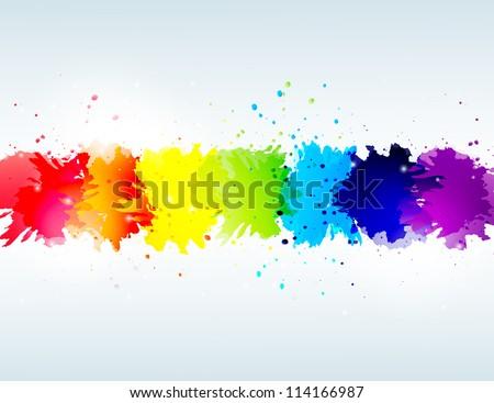 bright background with rainbow blots - stock photo