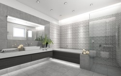 Bright Bathroom With Grey Ornament With Candels