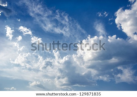 bright beautiful blue sky with clouds