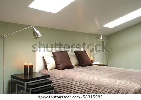 bright bedroom in the attic