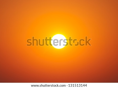 Bright big sun on the sky with yellow orange gradient colors