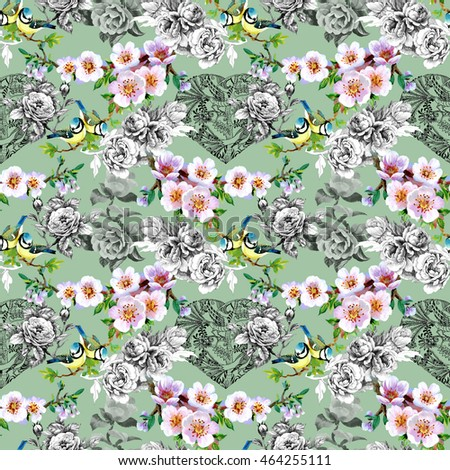 Bright birds on branches with black and white roses flowers ink hand drawn illustration, seamless pattern on green background