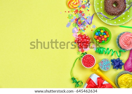 Bright birthday decor on color background #645462634