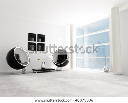 bright black and white living room with fashion armchair