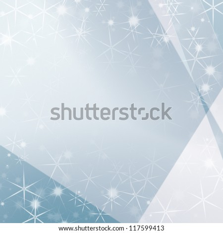 bright blue abstract background with white stars as modern christmas background