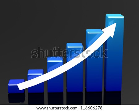 Bright blue graph on a black background