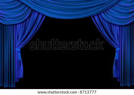 Bright Blue Multi Layered Theatre Drapes on Stage