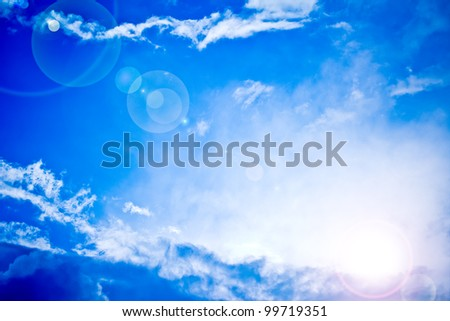 bright blue sky and sun light rays looking serene, heavenly