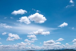 Bright blue sky background and white clouds group pattern floating with breeze  , summer day