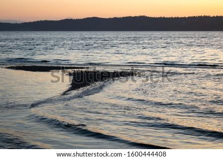 bright blue water of puget sound along shoreline of washington