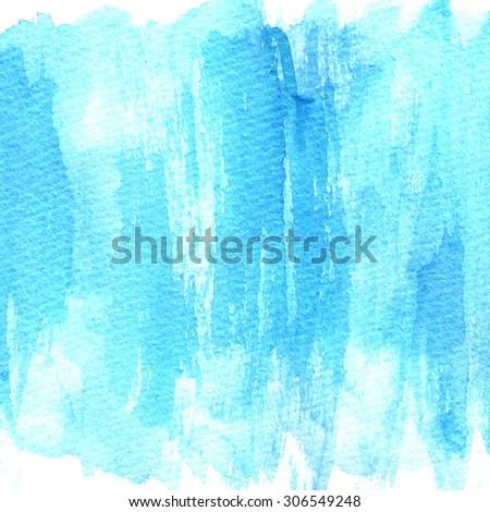 Bright blue watercolor texture image on white paper background. Brush strokes texture.