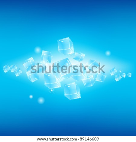 Bright blue winter background with ice cubes. Abstract illustration