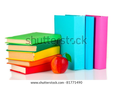 bright book and apple isolated on white