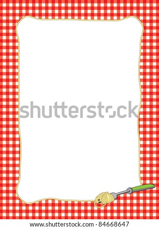 Bright border of a fork twirling a spaghetti noodle with a red gingham background.