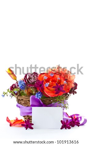 bright bouquet of roses and spring flowers on a white background
