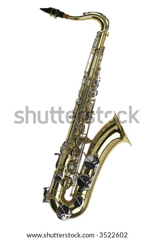 Bright brass tenor saxophone isolated on white