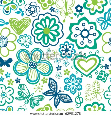 cartoon images of flowers. stock photo : Bright cartoon seamless pattern with flowers and butterflies