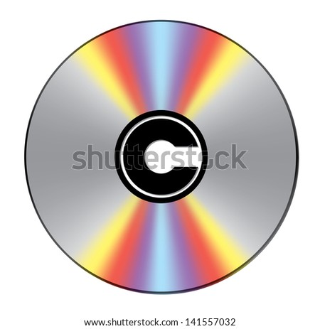 Bright CD with copyright sign in center
