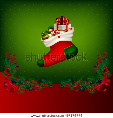 Bright Christmas background with garland from fir-tree branches and gifts