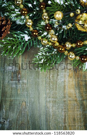 Bright christmas composition on wooden table