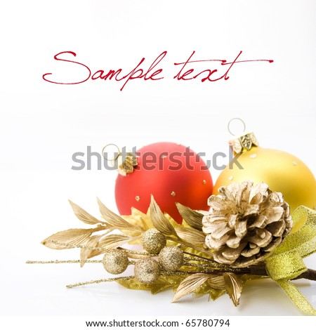 Bright christmas composition with balls and sample text - stock photo