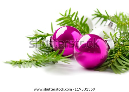 Bright christmas composition with baubles isolated on white, plenty of space for text