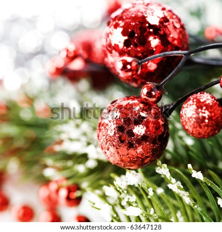 Bright christmas composition with christmas balls