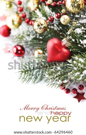 Bright christmas composition with heart and sample text