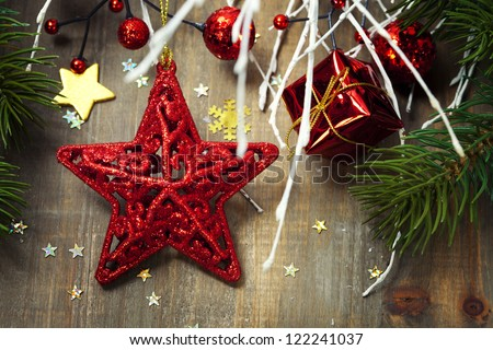 Bright christmas composition with red star