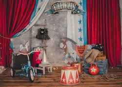 Bright circus decorations. The decoration of kettlebells, digital curbstones, a beautiful painted horse, drums, gymnastic clubs on the background of a gray wall. Circus concept. Horizontal frame.
