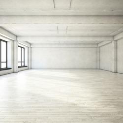 Bright clean interior. Empty open plan interior.