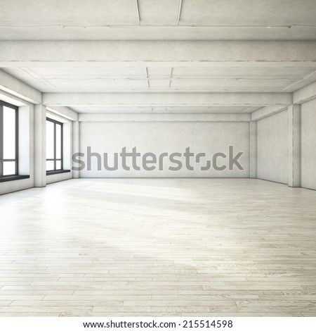 Bright clean interior. Empty open plan interior.