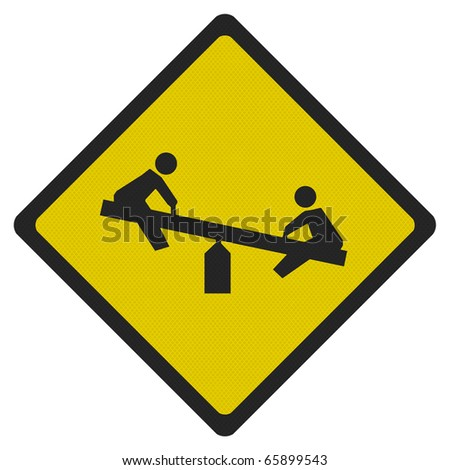 Bright, Clean 'Playground' Road Sign, Isolated On Pure ...