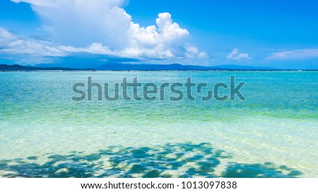 Bright clear sea water , sunny day and shadow, relax travel concept, Solomon islands #1013097838
