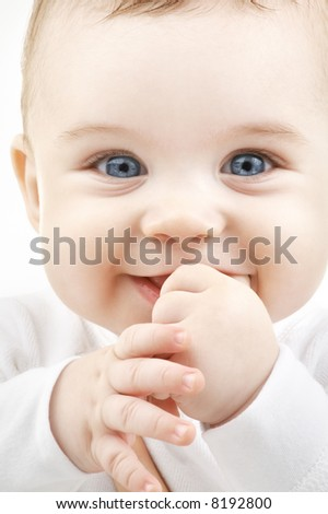 bright closeup portrait of adorable baby