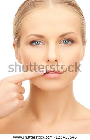 bright closeup portrait picture of beautiful woman...