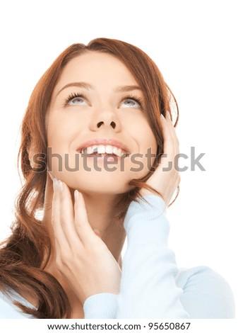 bright closeup portrait picture of happy woman