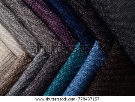 Bright collection of gunny textile samples. Multicolor Fabric texture background.