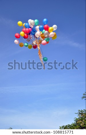 bright, color, balloons fly on the blue sky
