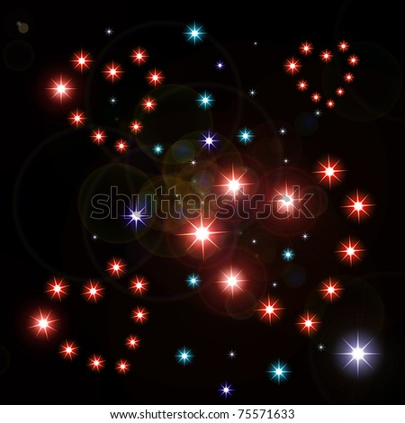 bright color hearts constellations in open space.