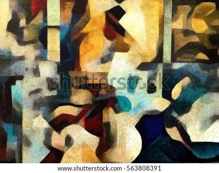 Bright colored abstraction. Executed in oil on canvas with elements of pastel painting. Modern style in interior design, office and home.