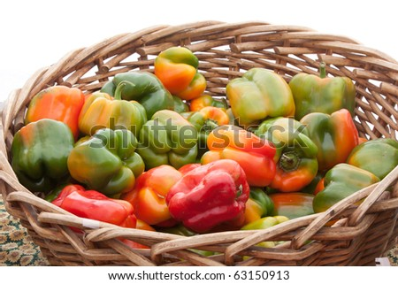 Bright Colored Bell Peppers in Basket for Sale
