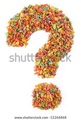 Bright Colored Cereal Shaped into a Question Mark