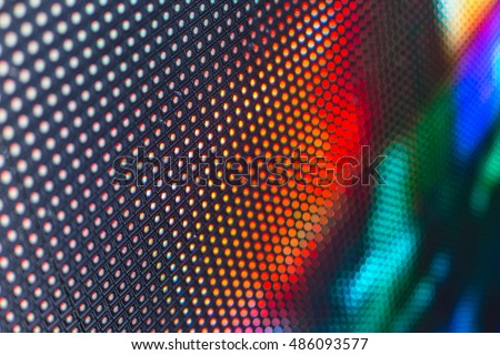 Bright colored LED video wall with high saturated pattern - close up background with shallow depth of field #486093577