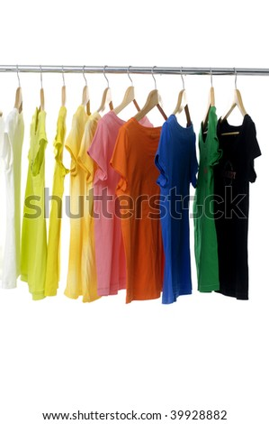 bright colored Tee Shirts hanging #39928882