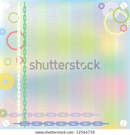 bright colorful abstract background with gears and chain