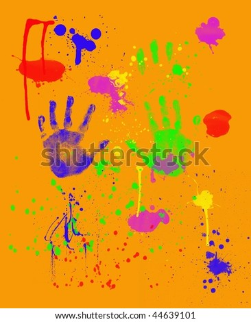 Bright Colorful Fingerpainting on Orange Background