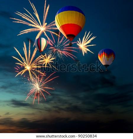 Colorful Hot Air Balloon at Night images