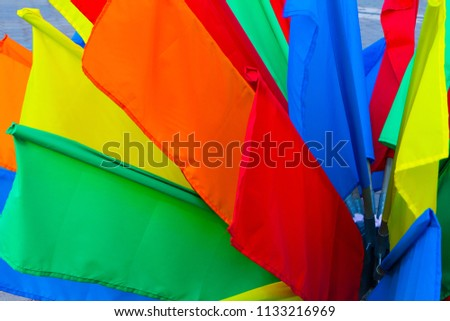bright colorful flags. rainbow colors background. national day party concept wallpaper.  stock photo